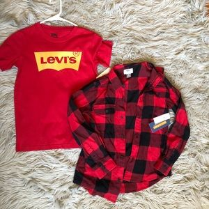 CHILDS red flannel and old navy tee bundle